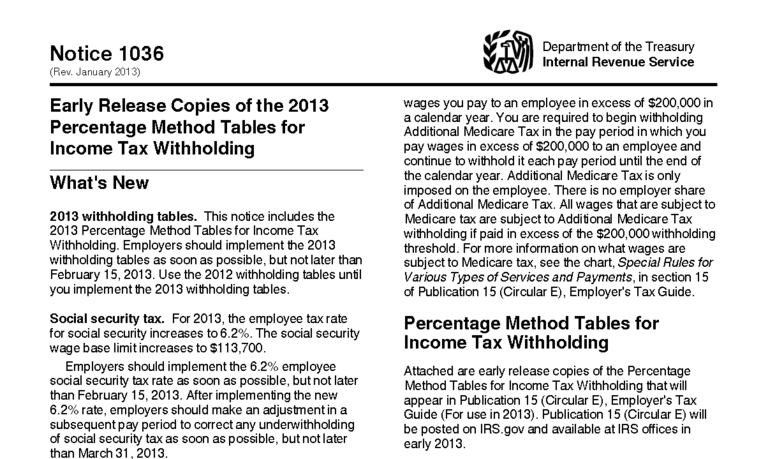 2013 Federal Tax Tables Released