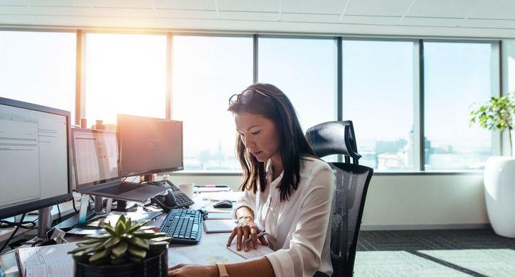 Contingent worker at desk